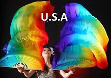 Belly Dance Silk Fan Veils 100% Top Quality USA Store Quick Shipping  FREE CASE