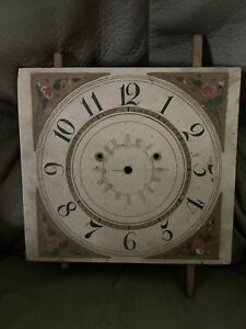 """ANTIQUE HAND PAINTED WOOD CLOCK DIAL FACE 11.5"""" Square GRANDFATHER Flower"""