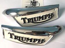Triumph Tank Badges (Pair) 1969 - 1978 Enamelled Painted Cream Black #82-9700
