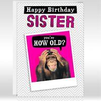 FUNNY MONKEY JOKE HAPPY BIRTHDAY CARD, Personalised, Name, Sister, Auntie, Mum