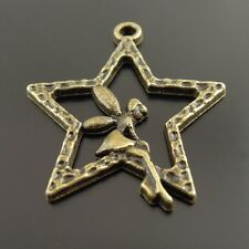 50X Vintage Style Bronze Tone Fairy and Star Charms Pendant Findings 25*25*2mm