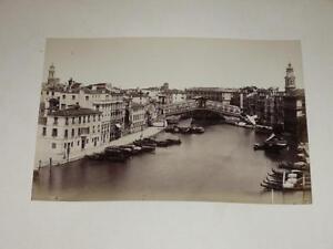 Naya / Venice Venezia 1870 Bridge Of Rialto Vintage Albumen Print Photo Foto