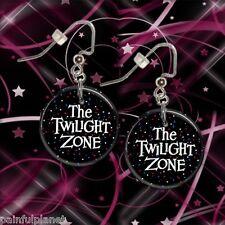 "TWILIGHT ZONE   1"" Button Dangle Earrings  FREE PIN   USA Seller"