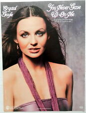 CRYSTAL GAYLE Sheet Music YOU NEVER GAVE UP ON ME Warner Publ. 80's COUNTRY