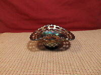 "Nice Blue Carnival Dish Basketweave & Open Lace Design 5 3/4"" L x 4 1/2"" W"
