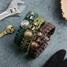Men Bracelet Spartan Helmet Luxury Retro Bangle Self Made Rope Jewelry Stainless