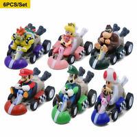 NEW 6Pcs/set Super Mario Kart Pull Back Car Luigi Mini Action Figure Toys Gift
