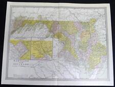 Maryland & Delaware State Map 1912 Vintage Scientific American Atlas Page