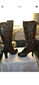 Demonia CRYPTO Vegan Black-Red Mesh Floral Knee High Boots PreOwned