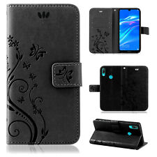 Huawei Y7 2019 Pouch Mobile Phone Case Wallet Cases Flowers Cover New