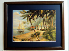 KEY WEST HIDEAWAY PICTURE TROPICAL BEACH PALM TREES SAILBOAT MATTED FRAMED 16X20