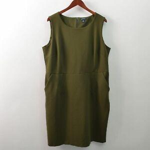 Lands End Womens Plus 20W Sheath Dress Sleeveless Green Viscose Blend Stretch