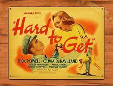 Tin-Ups Tin Sign Warner Brothers Hard To Get Vintage Movie Art Poster