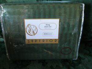 Superior 100% Cotton 300 Thread Count 4 Pc King Set Hunter Green Stripe