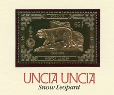 MONGOLIA 23kt GOLD FOIL SNOW LEOPARD STAMP OFFICIAL POSTAGE MINT NH MOUNTED CARD