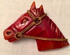 Rare Vintage Bakelite horse head Brooch Amber colored.