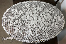 CHROCHET DOILIES LACE DOILY HAND TABLE COTTON WHITE MATS NEW LARGE MADE LINEN