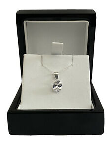 White gold finish solitaire and Oval cut created diamond pendant necklace Gift
