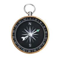 Portable Outdoor Aluminum Camping Compass Keychain for Presents Gift  Gold