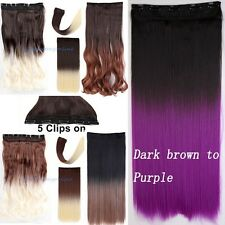 US Seller Real Thick Ombre Hair Extensions Clip In Human Hair Natural Hair Piece