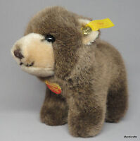 Steiff Browny Bear Cub all fours 12cm 5in Woven Fur Plush ID Button Tags 1990s