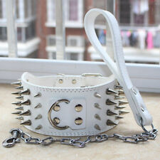 """3"""" Leather Spiked Studded Dog Collar + Dog Leash Lead set for Pit Bull Terrier"""