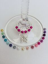 20 Butterfly Wine Glass Charms. Favours, Party, Wedding, Christening, Hens.