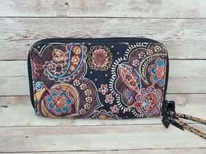 RETIRED Vera Bradley Kensington Zip Around Wallet Wristlet Paisley Brown Flowers
