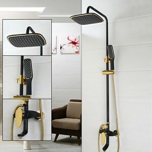 Bathroom Black Square Rainfall Shower Head Faucet Brass Hand Shower Spray Set