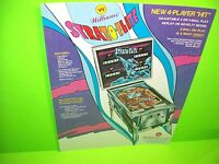 Williams STRATOFLITE Original 1974 Flipper Game Pinball Machine Promo Sale Flyer