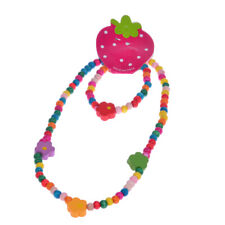 Lovely Kids Colorful Flower Wood Beads Necklace Bracelet  Children's Jewellery
