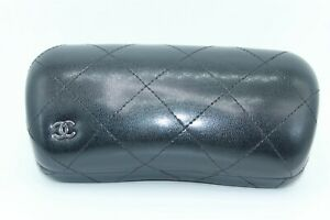 BRAND NEW CHANEL EYEGLASSES SUNGLASSES HARD BLACK LEATHER CLAMSHELL CASE ONLY