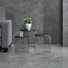[en.casa]® Metallkorb Beistelltisch Couchtisch Sofatisch 3er Set Deko Dunkelgrau
