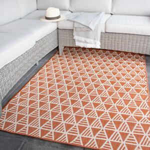 Orange Geometric Outdoor Rug   Washable Dryable Multi Use Indoor Rug Tribal Mats