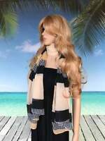 Long Scarf |  Diamond and Houndstooth Design | Caramel Green or Red with Black