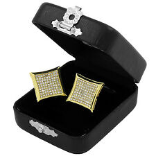 9 Row Kite Screw Back Stud Earring Men's Hip Hop Iced Out Medium Micro Pave
