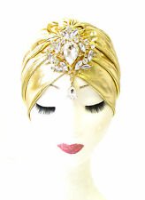 Gold Silver Rhinestone Diamante Turban Headpiece 1920s Flapper Vtg Cloche 1162