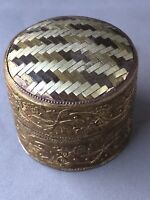 Herringbone Design Metal Small Trinket Box Ornate Side Different Coloured Metals