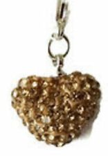 SPARKLY SHAMBALLA LIGHT GOLD CRYSTAL 15mm HEART CLIP ON CHARM FOR BRACELET - S/P