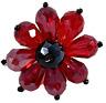 Red Rhinestone Beads Flower Ring Jewelry Stretch Band  R12360