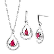 Natural Ruby Pendant & Earrings Set with Diamonds in Sterling Silver
