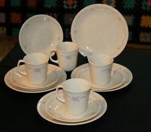 4 sets Corelle by Corning English Breakfast -12 pieces - plates, sides, mugs VGC