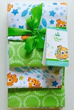 Disney Baby Finding Nemo Day at the Sea 4p Flannel Cotton Receiving Blankets