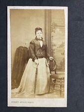 Victorian Carte De Visite CDV: Lady Window Background Umbrella: Hellis: London