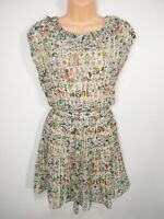WOMENS TED BAKER SIZE 3 UK 12 GREEN MIX FLORAL NATURE PRINT FIT & FLARE DRESS