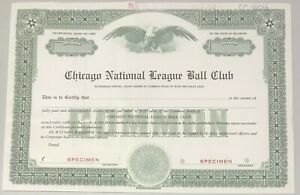 1950-60s CHICAGO CUBS National League Ball Club Stock Certificate Specimen
