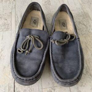 Ugg Chester Blue Men's Leather Moccasin Driving Shoe Slipper Wool Insert 7