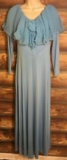 Vtg 70s Blue Long Sleeve Formal Prom Party Maxi Dress Handmade