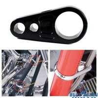 "Black 1"" Frame Handlebar Dual Clutch Cable Brake Line Clamp For Harley Davidson"