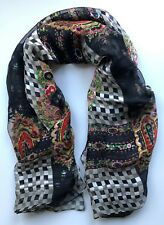 """Silk Scarf 42"""" Square Black Checkerboard With Floral Inlays"""
